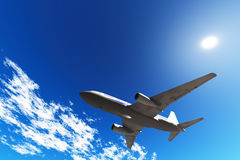 Aircraft in blue sky Royalty Free Stock Photo
