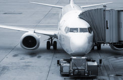 Aircraft boarding. Aircraft standing at the airport ready for boarding Royalty Free Stock Image