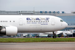 The aircraft Boeing 767 of ELAL airlines. Landed in Moscow airport Domodedovo on October, 23,2012 Stock Images
