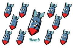 Aircraft bomb emotions emoticons set  on white backgroun. D. Comic book cartoon pop art illustration retro vector Stock Image
