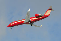 Aircraft Bombardier CRJ-200ER CRJ-200ER (VQ-BFI ) airlines Rusline on approach to Pulkovo airport Royalty Free Stock Image