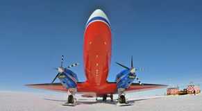 Aircraft bt-67 in Antarctica royalty free stock photo