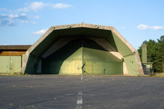 Aircraft bunker. Abandoned hardened aircraft shelter on former RAF Laarbruch airbase. Germany Stock Image