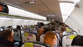 Aircraft Cabin Full of Tourists Preparing to Take off Flight Return to Homeland