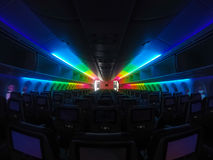 Aircraft cabin rainbow lighitng, taken by gopro camera. Use for background royalty free stock image