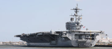 Aircraft Carrier. In Navy Harbor royalty free stock images