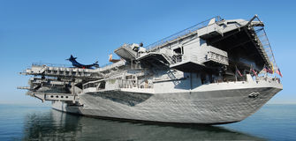 Aircraft carrier. USS Midway aircraft carrier at sea royalty free stock photo