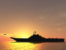 Aircraft carrier. On sea near Iraq over sunset Stock Images