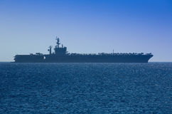 Aircraft Carrier. Docked outside Rhodes, Greece Stock Photo