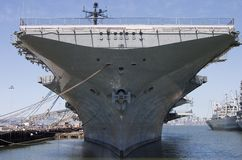 Aircraft Carrier. The bow of the aircraft carrier intrepid, docked at Alameda California royalty free stock images