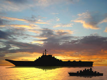 Aircraft carrier. On sea near Iraq over sunset Royalty Free Stock Photography
