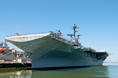 Aircraft Carrier. Docked Aircraft Carrier in Alameda stock photo