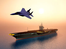 Aircraft Carrier and Combat Aircraft Stock Photos