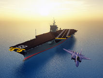 Aircraft Carrier and Combat Aircraft Stock Image