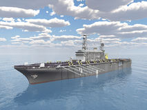 Aircraft carrier. Computer generated 3D illustration with an aircraft carrier Royalty Free Stock Photo