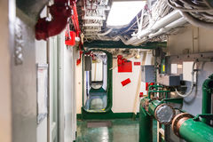 Aircraft carrier corridor Stock Photo