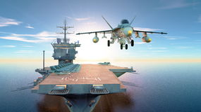Aircraft carrier. 3D CG rendering of the aircraft carrier Royalty Free Stock Photo