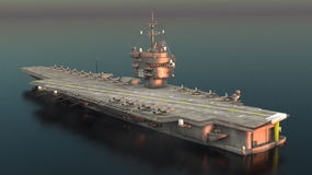 Aircraft carrier. 3D CG rendering of the aircraft carrier Stock Image
