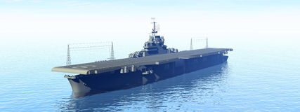 Aircraft carrier - 3D render Royalty Free Stock Photo