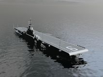 Aircraft carrier - 3D render. One aircraft carrier on the ocean by morning light - 3D render Royalty Free Stock Images