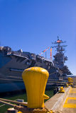 Aircraft Carrier Docked. The aircraft carrier USS Abraham Lincoln docked at the Port or Everett Naval Station, WA royalty free stock images