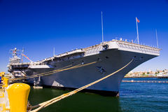 Aircraft Carrier Docked Stock Image