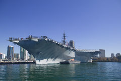 Aircraft Carrier Docked Royalty Free Stock Image
