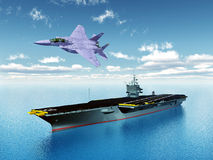 Aircraft Carrier and Fighter Plane Royalty Free Stock Photos