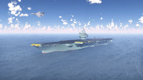 Aircraft Carrier and Fighter Plane. Computer generated 3D illustration with Aircraft Carrier and Fighter Plane Royalty Free Stock Photography