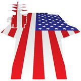 Aircraft Carrier Flight Deck American Flag Vector Illustration stock illustration