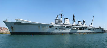 Aircraft carrier HMS Illustrious. HMS Illustrious at Portshouth docks, United Kingdom Stock Photography