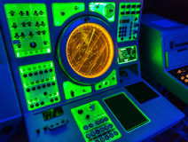 Aircraft carrier navigation equipment. USS Midmay museum stock image