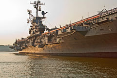 Aircraft carrier in New York Stock Image