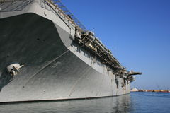 Aircraft carrier at port Stock Photography