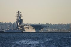 Aircraft Carrier in Port. A US aircraft carrier in port at San Diego royalty free stock image