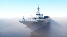 Aircraft carrier in sea, ocean with fighter. War and weapon concept. 3d rendering. Royalty Free Stock Image