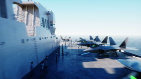 Aircraft carrier in sea, ocean with fighter. War and weapon concept. Realistic 4k animation. stock video footage