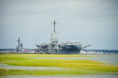 Carrier ship. Aircraft carrier ship in Charleston, South Carolina Royalty Free Stock Photo