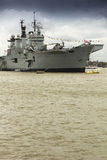 Aircraft carrier on Thames Royalty Free Stock Images