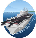 Aircraft carrier. War battle warship  cartoon illustration Stock Photography