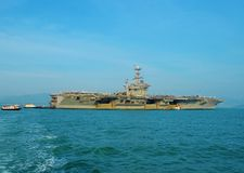 Aircraft Carrier. An aircraft carrier is a warship with a full-length flight deck and facilities for carrying, arming, deploying, and recovering aircraft, that Royalty Free Stock Images