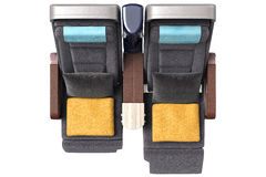 Aircraft chairs with towels, top view Royalty Free Stock Images