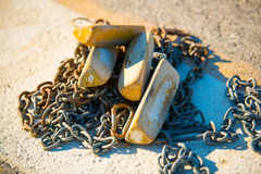 Free Aircraft Chocks And Chains On The Landing Field. Royalty Free Stock Image - 78007376