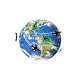 Aircraft circulating around the globe Stock Photography