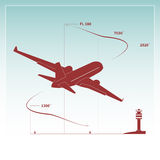 Aircraft climbs after take off. Vector illustration Royalty Free Stock Images