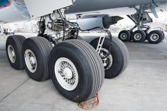 Aircraft. Close up of aircraft wheel at the hangar Stock Photo