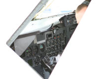 Aircraft cockpit isolated on white with copy space Stock Images