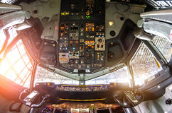 Free Aircraft Cockpit View On The Control Panel. Royalty Free Stock Images - 93499539