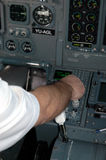 Aircraft cockpit6. Pilos is controling aircraft by right hand Royalty Free Stock Photos
