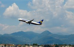Aircraft companies Rayanair flies up at the Royalty Free Stock Photo